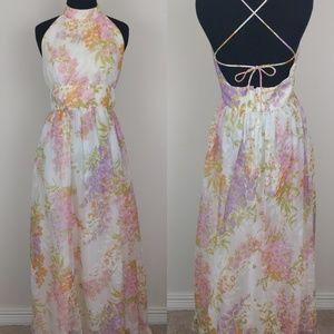 Vintage 1970s Floral halter ruffle neck gown sz sm